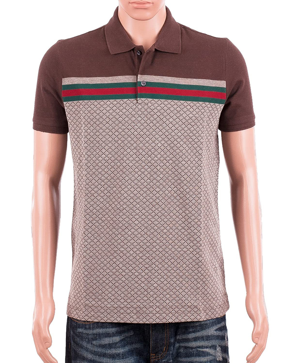 59256ba07 Amazon.com  Gucci Mens Polo Shirt Brown with Diamante Print and Front  Stripe Signature  Clothing