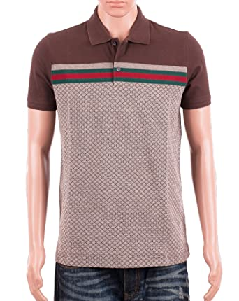 387f4f64aa7 Gucci Mens Polo Shirt Brown with Diamante Print and Front Stripe Signature  (S)