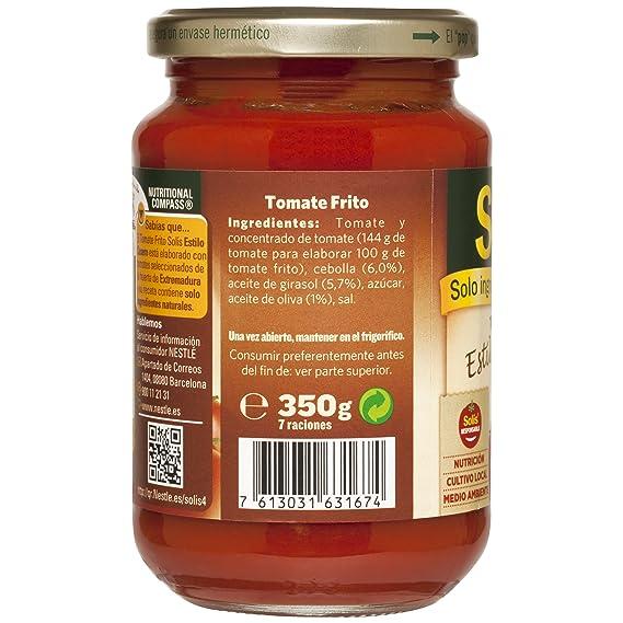 SOLIS Tomate Frito Estilo Casero Frasco Cristal - Tomate sin gluten - 350 g - Pack de 12
