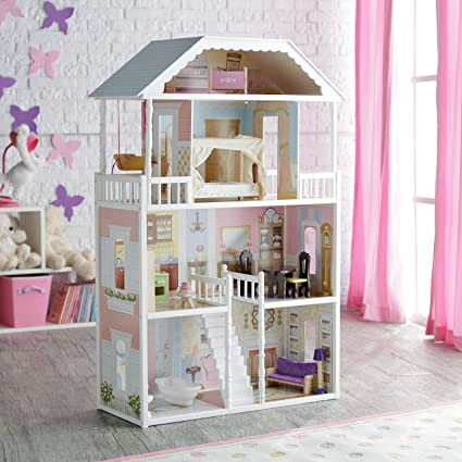 KidKraft Savannah Dollhouse Girls Play Wood Play Doll House W/ Doll Family