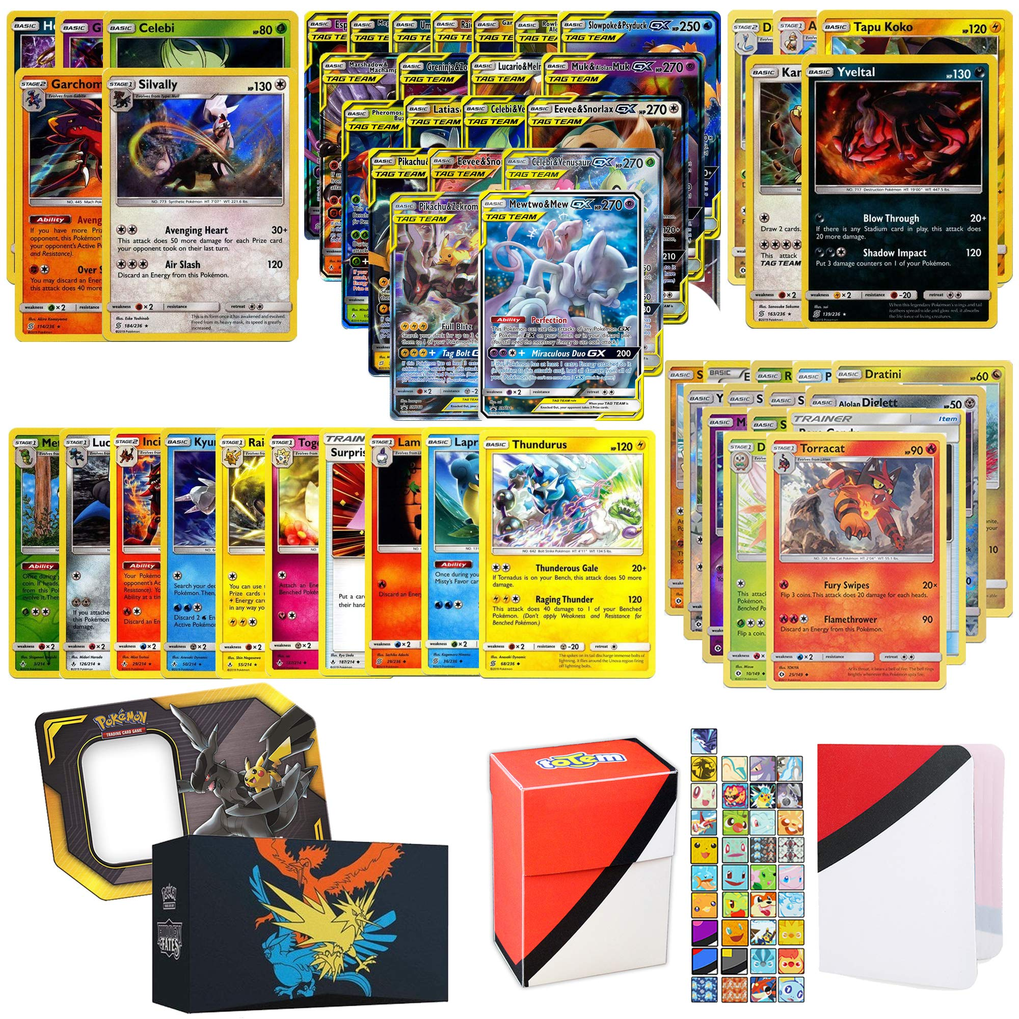 Totem World Pokemon Tag Team GX Ultra Rare Guaranteed with 5 Holo Rares, 5 Rares, 10 Uncommon Foils, 40 Regular Cards, Totem Deck Box & Mini Binder Collectors Album in Hidden Fates Storage Tin or Box by Totem World