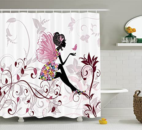 Girls Shower Curtain Set Teens Decor By Ambesonne, Flower Fairy With  Butterflies Wings Branches Ornamental