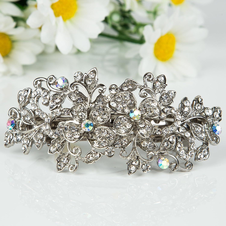 Beautyxyz Woman's new flowers silver plated metal fashion rhinestone hair clip Barrette (silver)