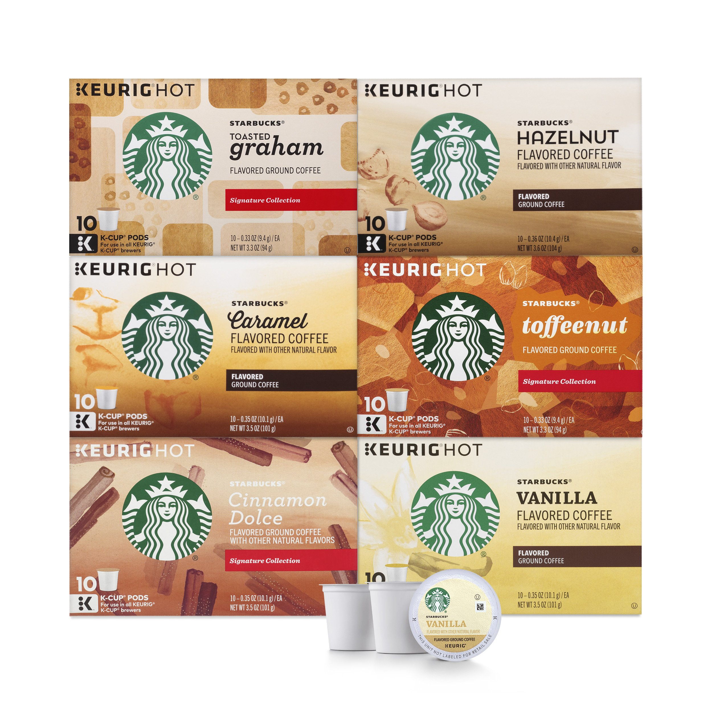 Starbucks Flavored Coffee K-Cup Variety Pack for Keurig Brewers, 6 boxes of 10 (60 total K-Cup pods), 60 Count by Starbucks