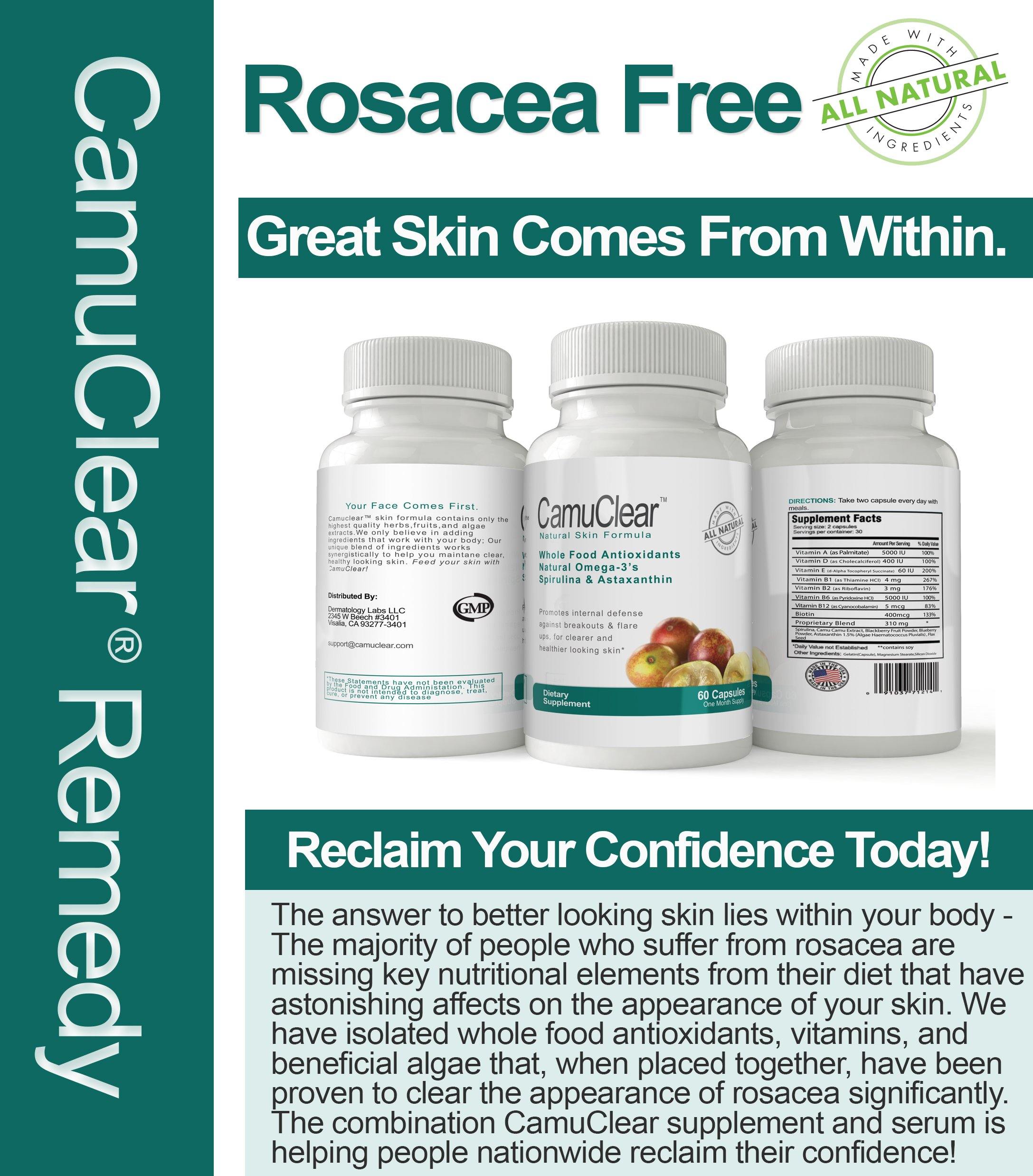 Best Rosacea Treatment, Camuclear® - Rosacea & Redness Treatment - Rosacea Skin Supplement + Rosacea Serum - 180 Capsules - 3 Month Supply - Cures Rosacea Flare Ups [100% Satisfaction Guarantee]