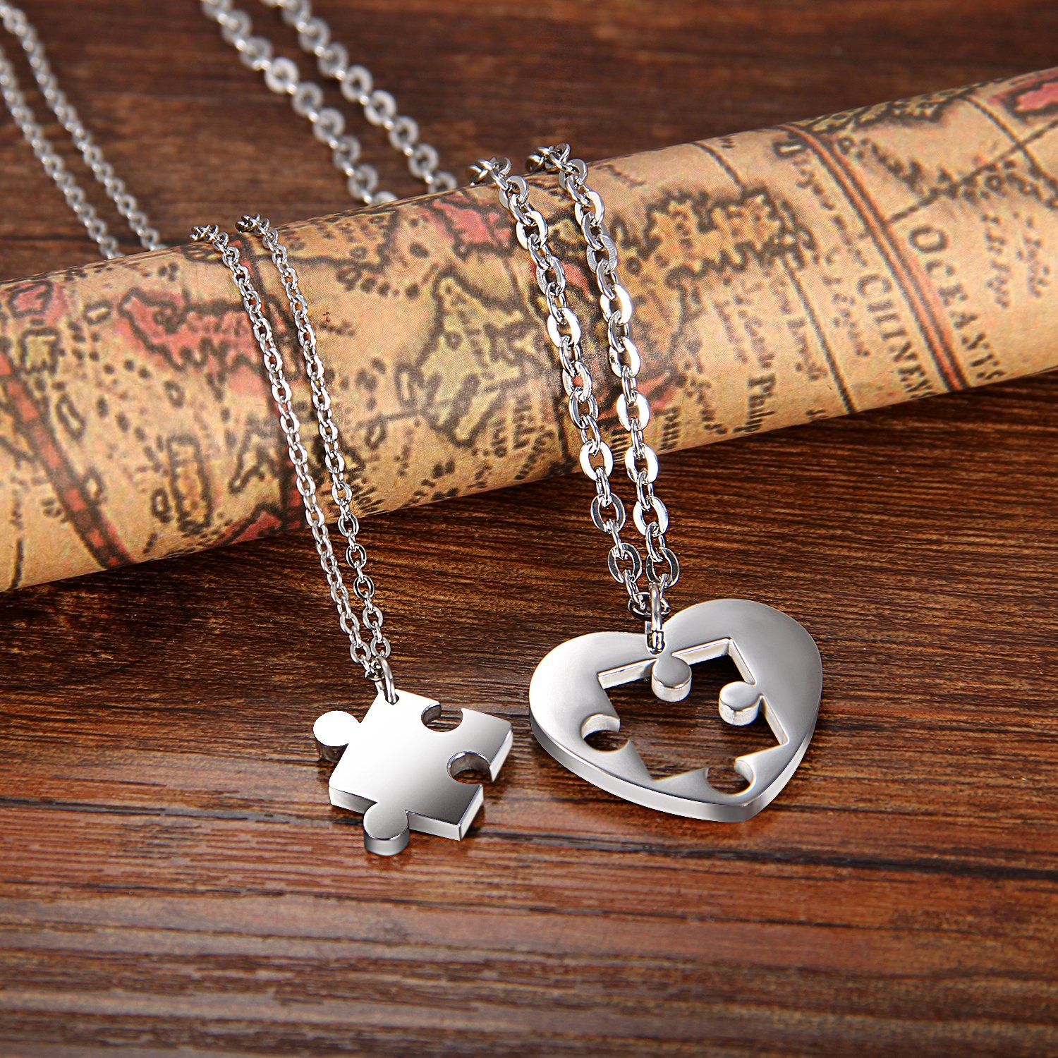 a5f49f576 Cupimatch Couples Necklace 2 Pieces Stainless Steel Love Heart Puzzle  Matching Pendant, Chain Included