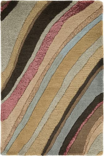 Surya Artist Studio ART-229 Contemporary Hand Tufted 100 New Zealand Wool Coffee Bean 8' x 11' Abstract Area Rug