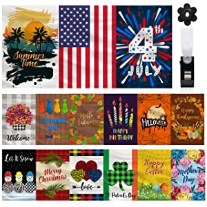 Mogarden 15-Pack Seasonal Garden Flags Set, Double Sided 12 x 18 Inch, Small Outdoor Decorative Holiday Yard Flags for All Seasons for Outside