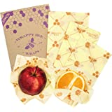 Wrappy Bee, Set of 3 PCS | Reusable Organic Beeswax Food Wraps, Handmade, Healthy, Plastic Free and Washable – 1 Large, 1 Medium, 1 Small + 1 Extra