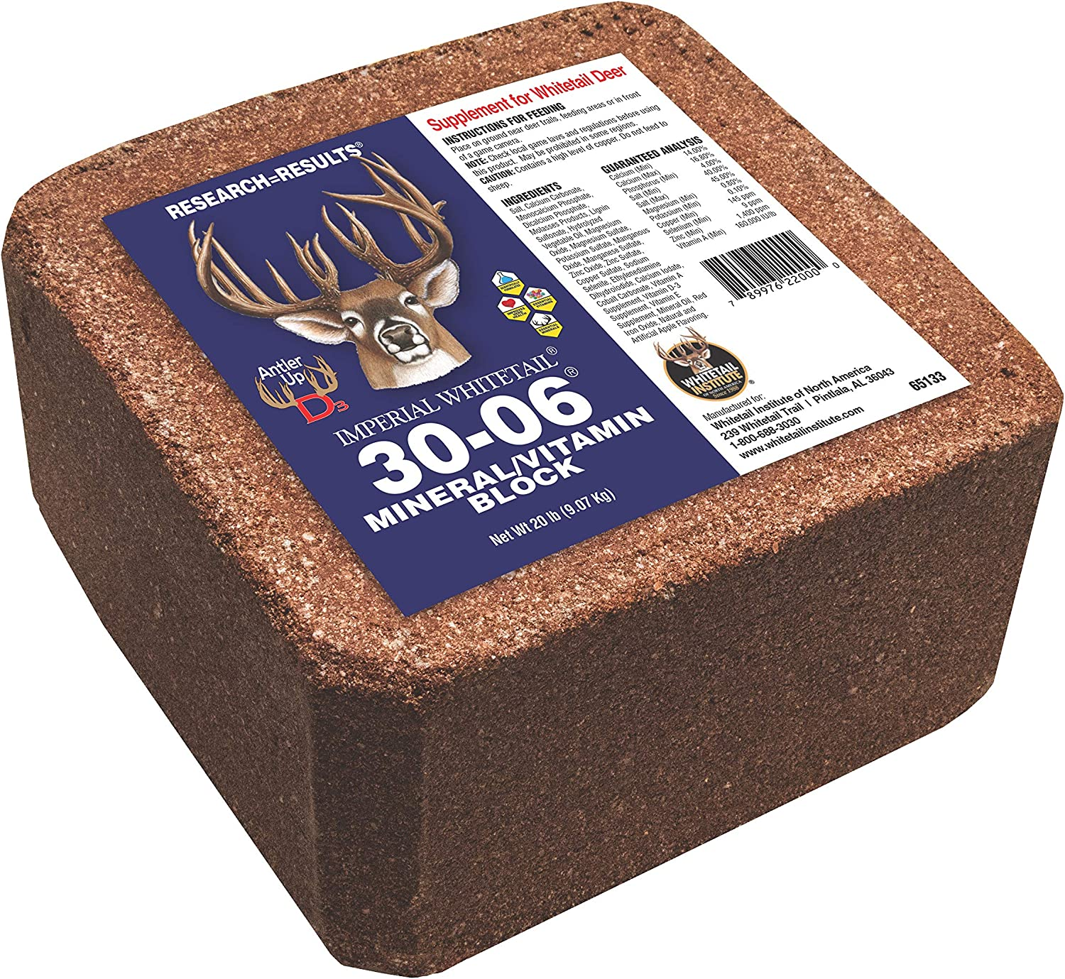 Whitetail Institute 30-06 Deer Feed Mineral Block Supplement, 20 lb