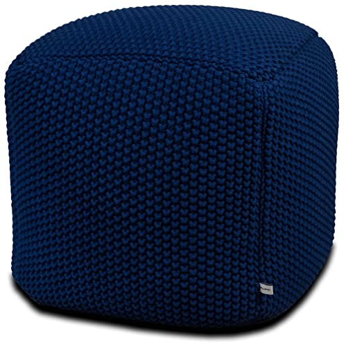 Urban Legacy Crocheted Knitted Ottoman Pouf 100 Cotton, Handmade, Square, Beautiful, Soft and Lightweight, Available in Four Colors Blue