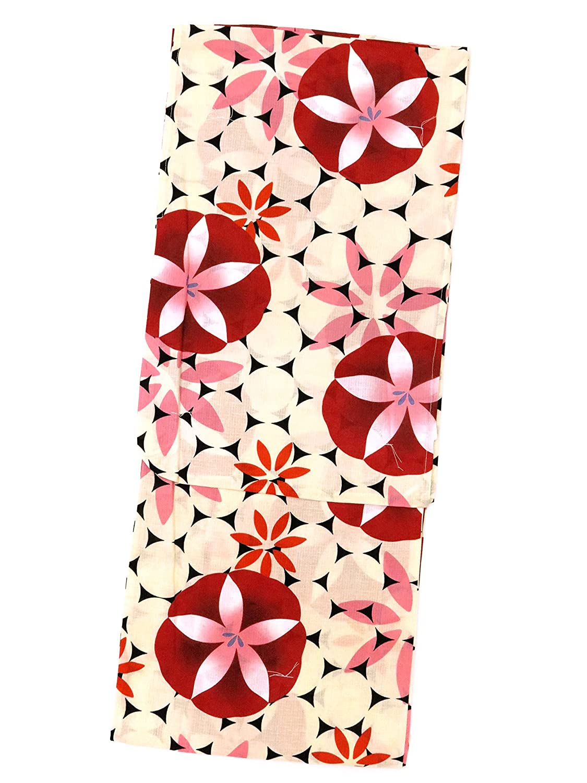 浴衣 レディース Sサイズ 小さいサイズ レトロ モダン 女性 浴衣 Sサイズ 選べる色柄(赤 オレンジ 生成り 青) TYS B07D3PWB84  赤×朝顔