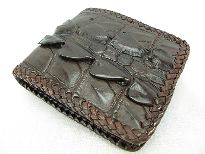 5a9f7e26ed2c Amazon.co.jp: PELGIO 高級なクロコダイル革の財布 茶色 縁編み: 服 ...