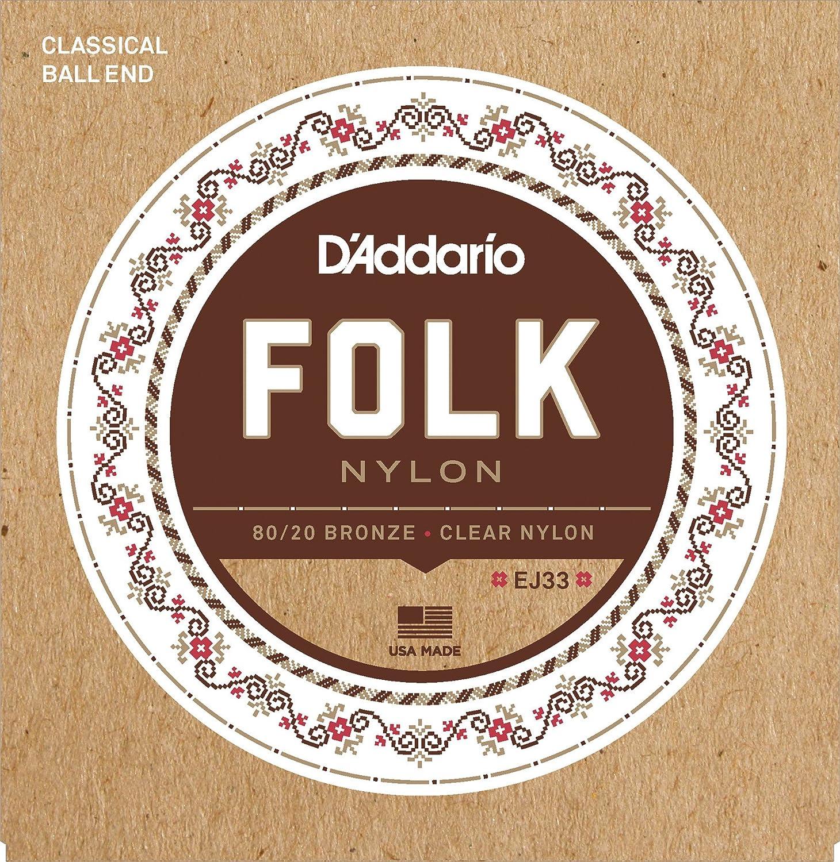 D\'Addario EJ33 Satz Folk Nylonsaiten mit Ball End für Konzert- oder ...