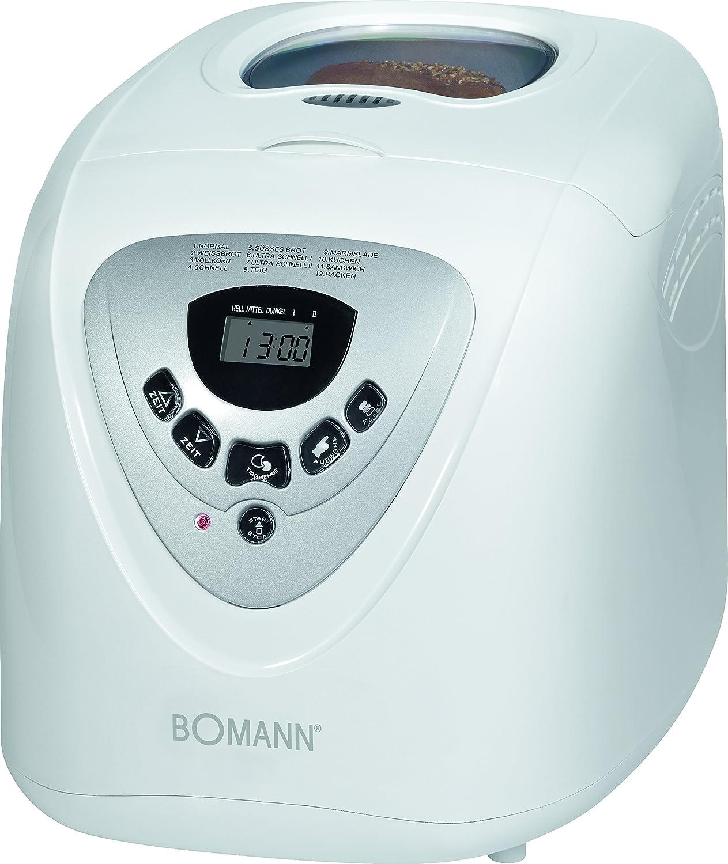 Bomann BBA 566 CB Panificadora programable, Capacidad 1 kg, 12 programas cocción, 39 Posibilidades, 600 W, Blanco: Amazon.es: Hogar