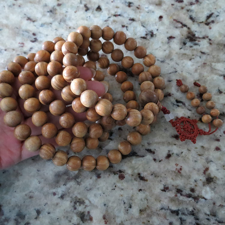 12mm*108 Buddha Green Sandalwood Prayer Beads Buddhist Sutra Mala Miyallu (Ship from Canada)