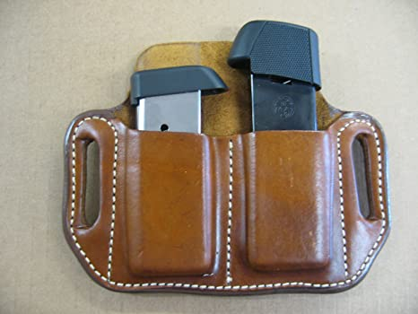 Kimber Micro 9 9mm Leather 2 Slot Molded Pancake Belt Mag Clip Pouch TAN