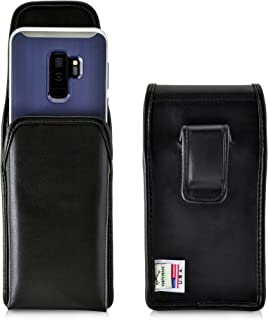 product image for Turtleback Holster Compatible with Galaxy S10+ Plus S9+ S8+ A30 A20 A50, Vertical Belt Case Fits Phones with Slim Case, Executive Metal Belt Clip, Black Leather Pouch, Made in USA