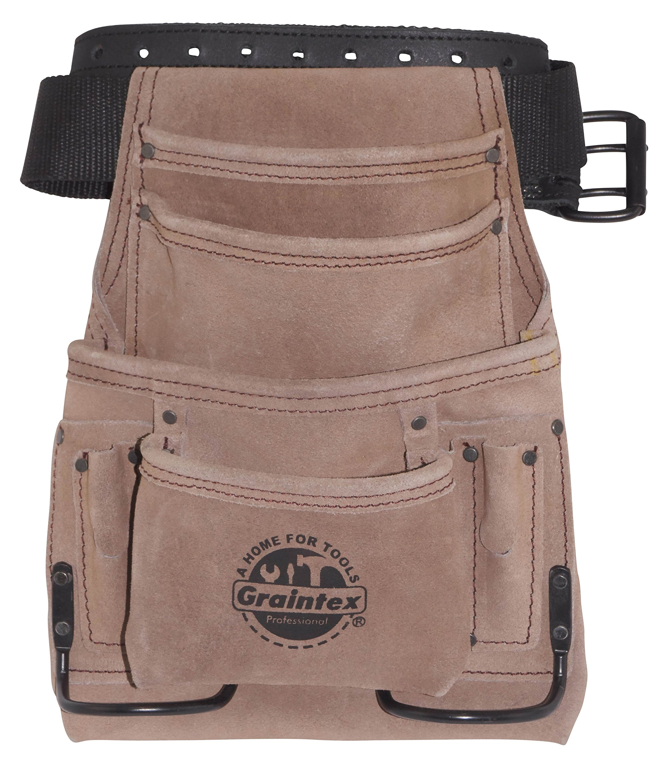Graintex SS2270 10 Pocket Suede Leather Nail & Tool Pouch with 2'' Leather/Webbing Belt Double Needle Roller Buckle