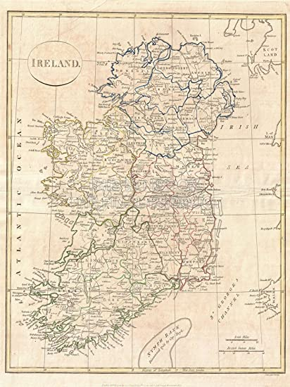 Print Map Of Ireland.1799 Clement Cruttwell Map Ireland Vintage Repro 24x18 Inch 61x46 Cms Poster Art Print 2881pylv
