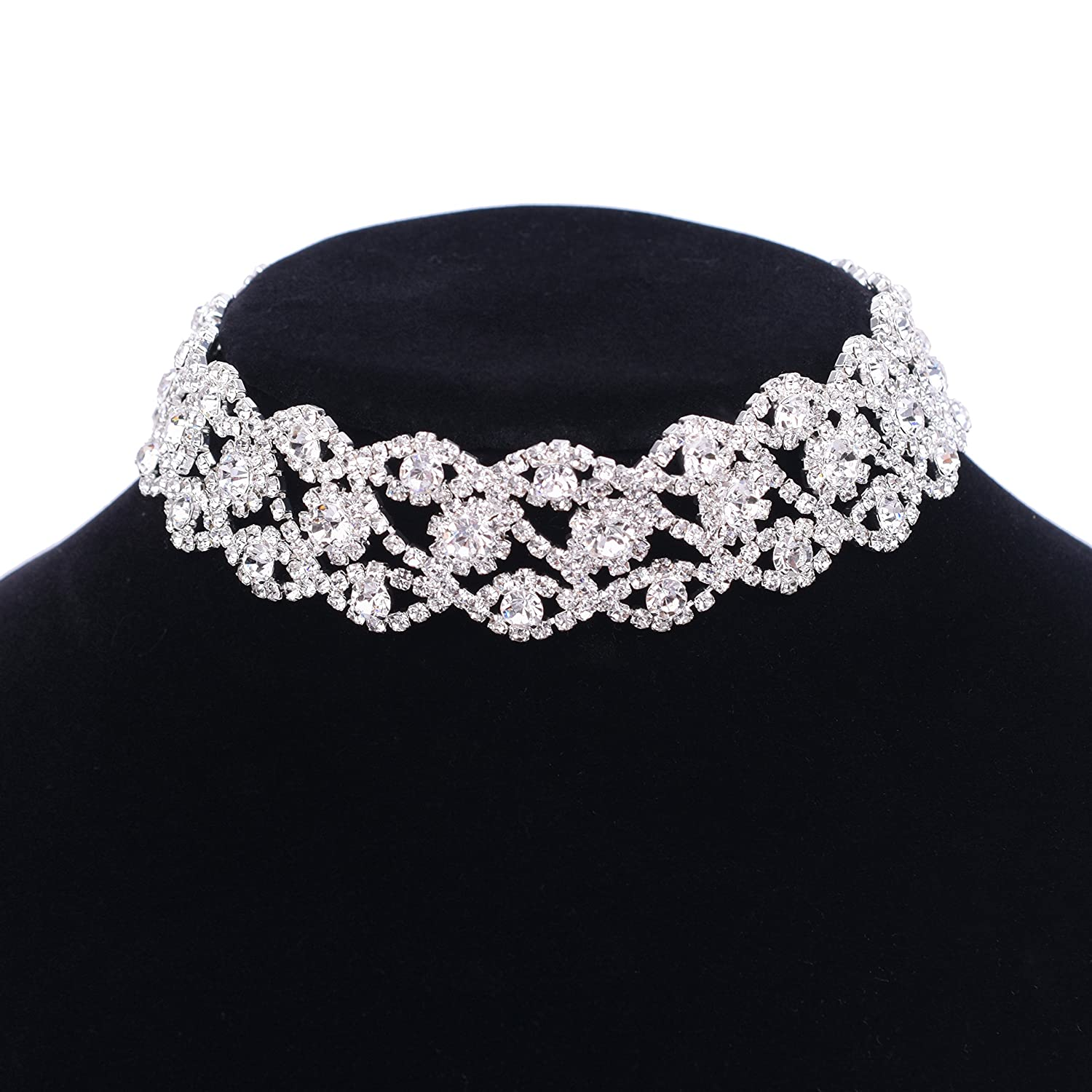 Paxuan Luxury Womens Clear Rhinestone Crystal Silver Choker Necklace Wide Collar Necklace Adjustable (Silver Plated White Crystal) Paxuan E-commerce
