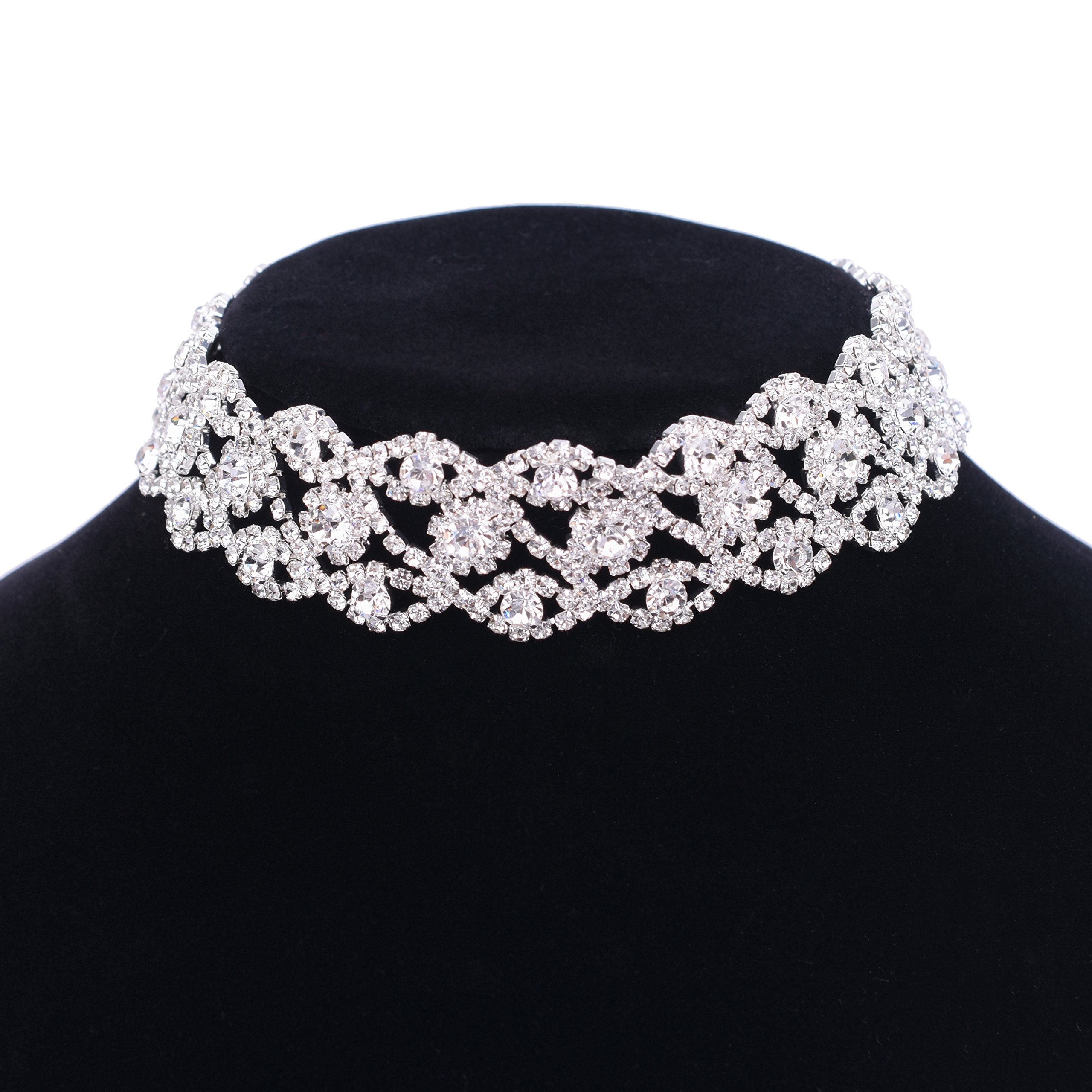 Paxuan Luxury Womens Clear Rhinestone Crystal Silver Choker Necklace Wide Collar Necklace Adjustable (Silver Plated White Crystal) by Paxuan