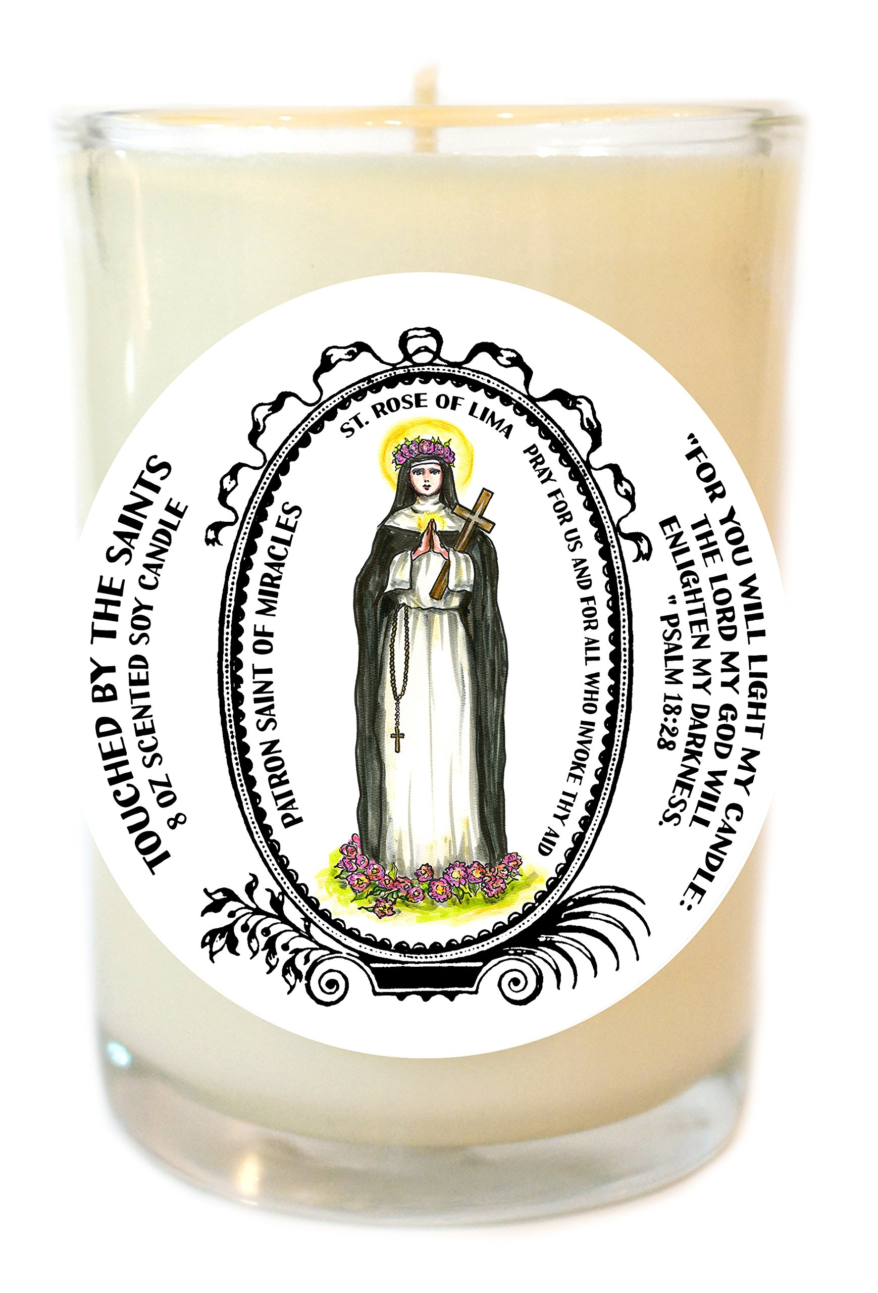 Saint Rose of Lima Patron of Miracles 8 Oz Scented Soy Glass Prayer Candle