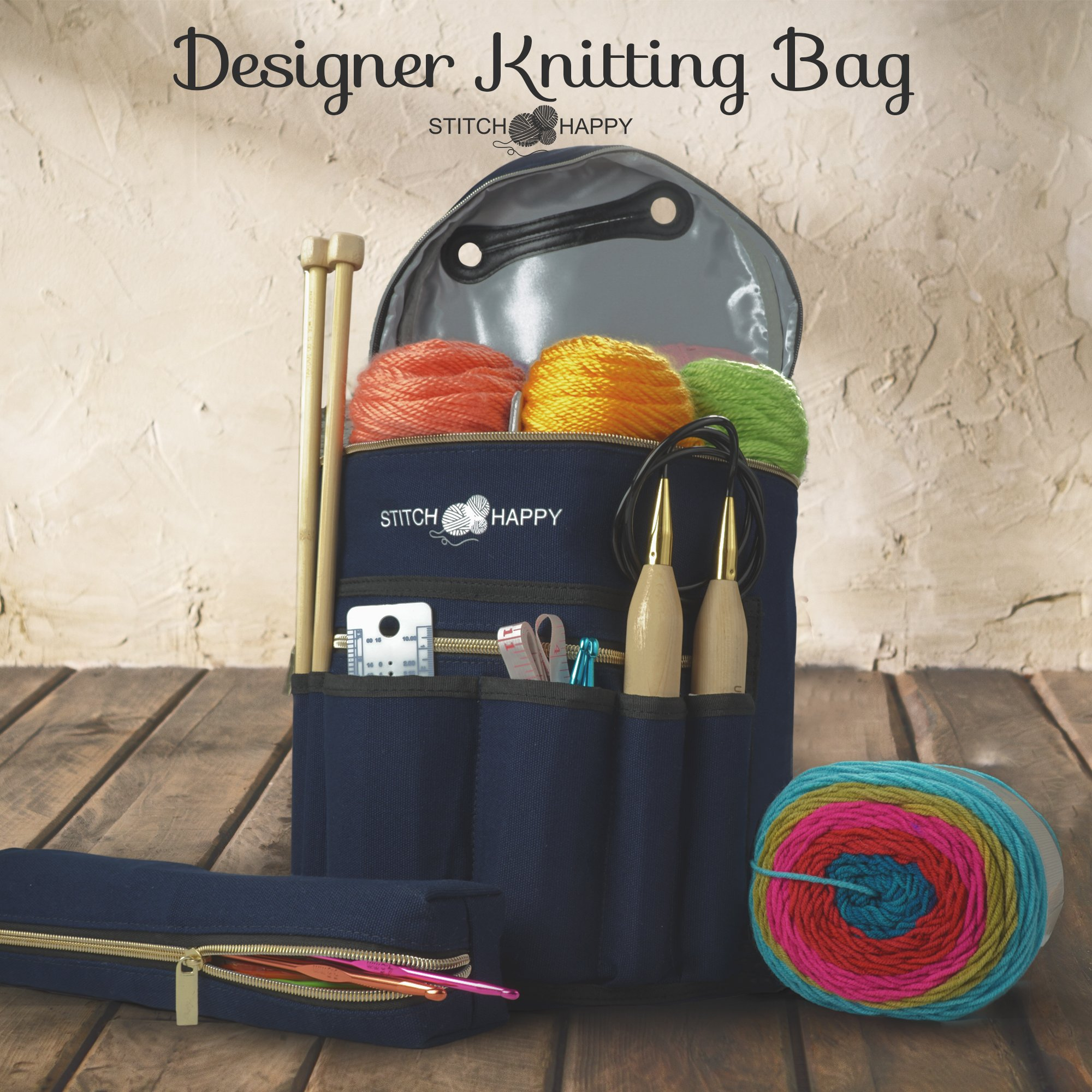 Knitting Bag - Yarn Tote Organizer w/Tool Case, 7 Pockets + Divider for Extra Storage of Projects, Supplies & Crochet (Navy) by Stitch Happy by Stitch Happy (Image #2)