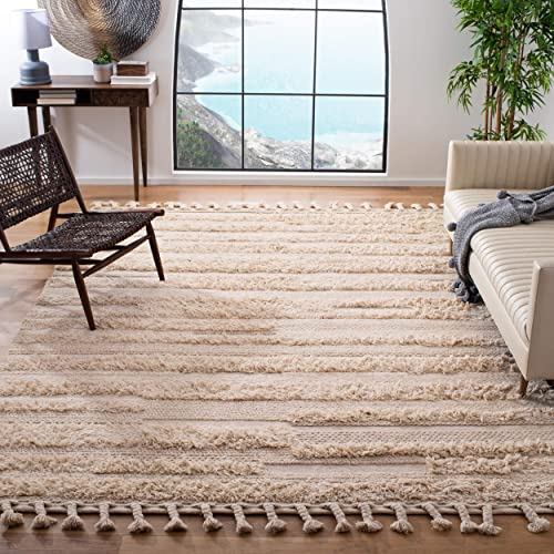 Safavieh Casablanca Shag Collection CSB450A Handmade Moroccan Tassel Wool Area Rug