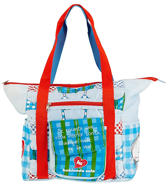 Amazon.com | Hablando Sola Do It for Me Girls Tote Bag Lightblue Red White Green | Travel Totes