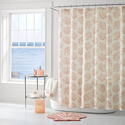 Five Queens Court Caribbean Reef Ombre Print Coastal Oversized Shower Curtain Coral