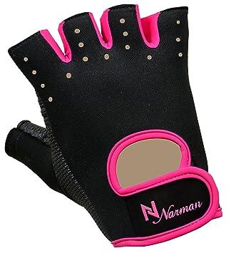 Rosa proworks Mujer agarre acolchado guantes sin dedos para gimnasio Levantamiento de Peso Ejercicio Guantes: Amazon.es: Deportes y aire libre
