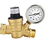 Renator M11-0660R Water Pressure Regulator. Brass Lead-free Adjustable Water Pressure Regulator with Gauge for RV, and Inlet Screened Filter