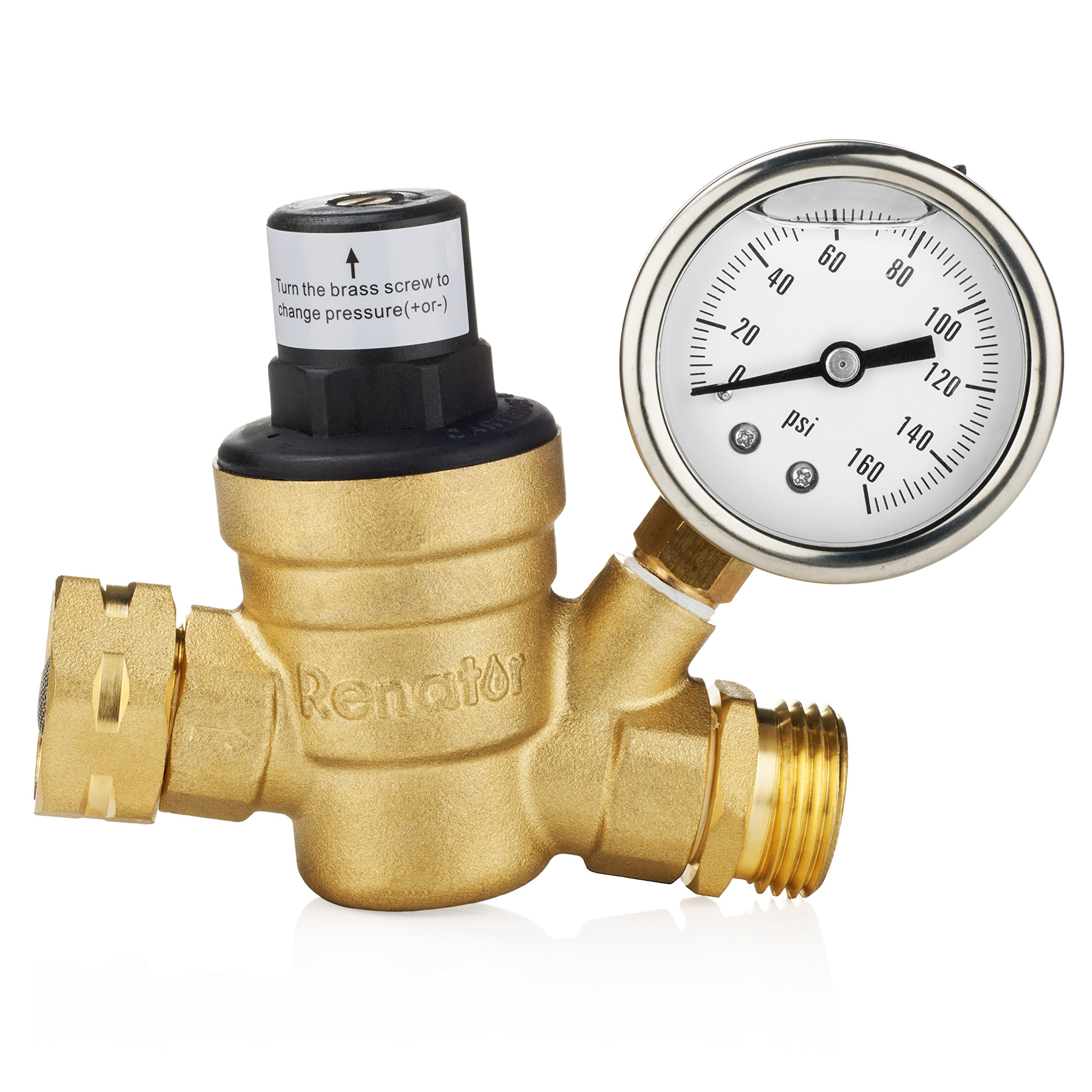 Renator M11-0660R Water Pressure Regulator Valve. Brass Lead-Free Adjustable Water Pressure Reducer with Gauge for RV Camper, and Inlet Screened Filter by Renator