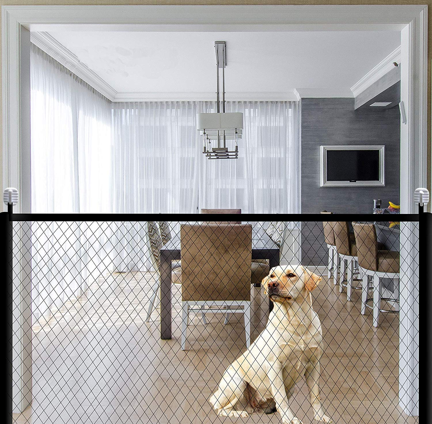 Pet Isolation Mesh Dog Gate for House Indoor Stair Doorway Use. Baby Gate Pet Gate for Dogs,Indoor Outdoor Retractable Baby Gate 43.3 x 28.3 inch Portable Mesh Folding Safety Fence