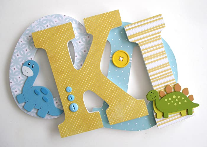 Amazon.com: Yellow and Light Blue Nursery Wooden Letters, Bedroom ...