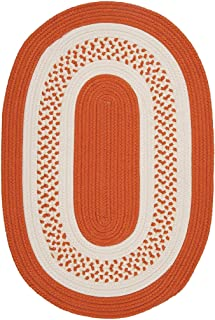 product image for Colonial Mills Hampton Fade-resistant Indoor/Outdoor Braided Rug (2' x 3') Orange White, Orange, Off-White