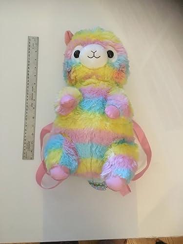 Amuse Alpacasso Backpack Rainbow – Alpaca Plush Backpack 13.4 Height – Authentic Kawaii from Japan