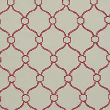 Amazon.com: Coral blanco rojo geométrico bordado tela de ...
