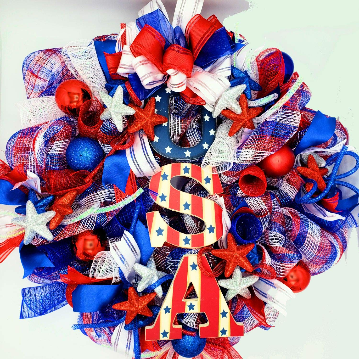 Artificial Christmas Wreaths Deco Mesh Patriotic Wreath - 4th of July - Flag Day - Memorial Day - Veterans Day - Red White Blue Wreath