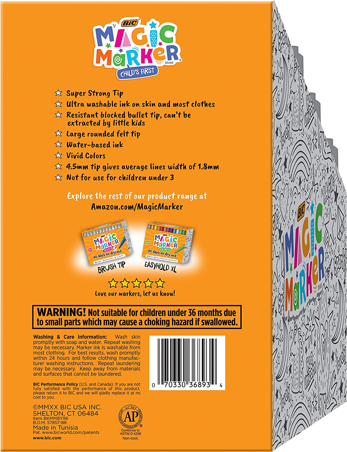 BIC Childs First Magic Marker Assorted Colors 96-Count