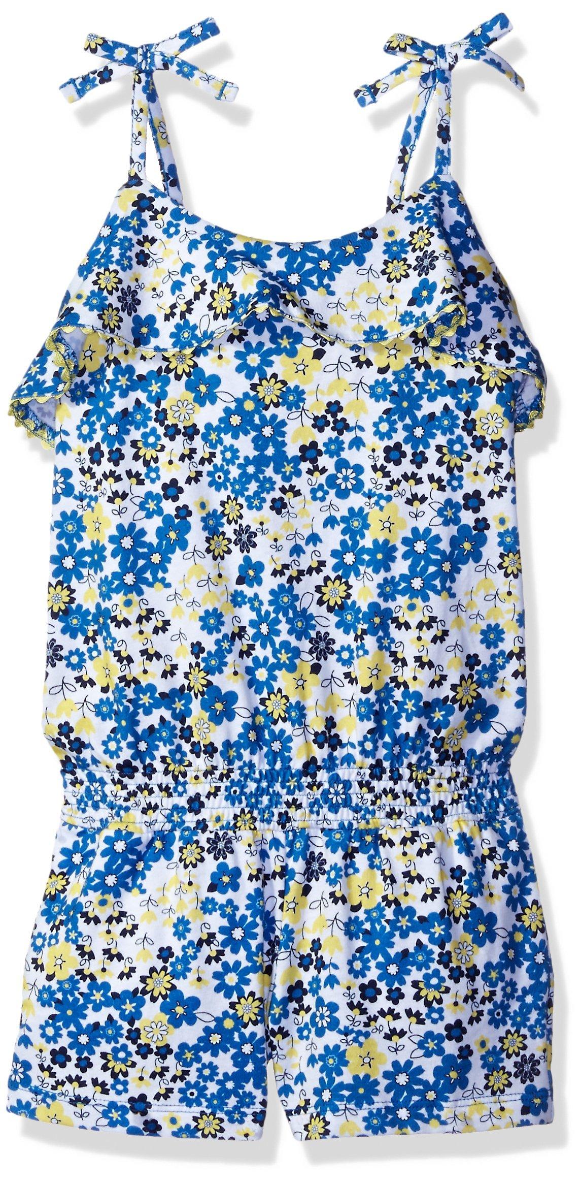 Scout + Ro Big Girls' Flounce Romper Crochet Detail, Strong Blue, 8