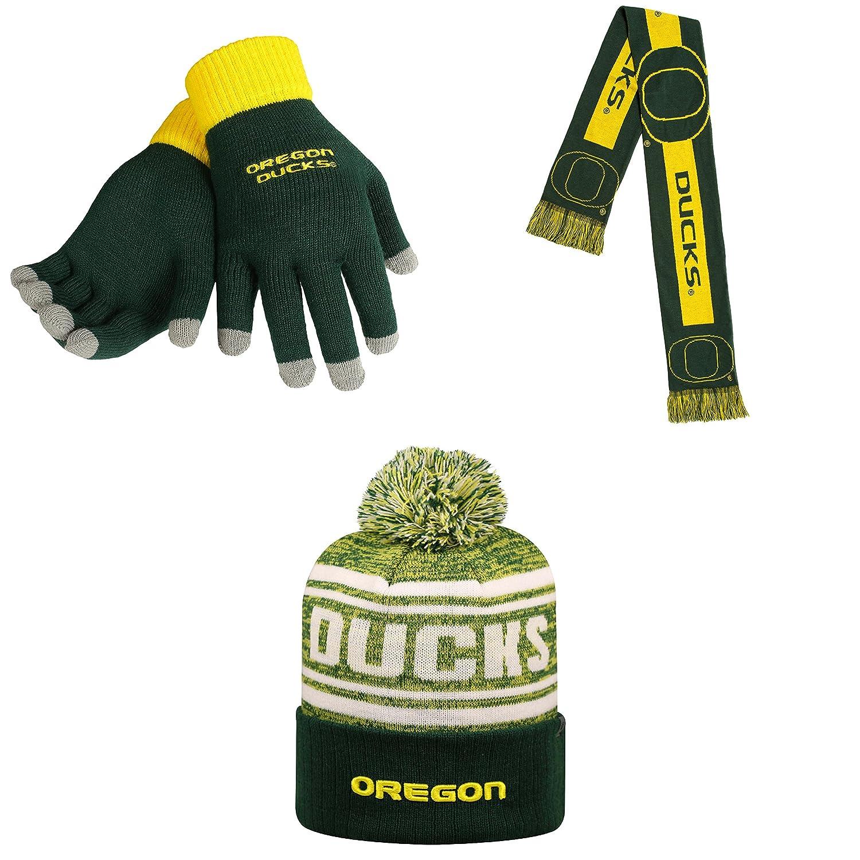 NCAA Oregon Ducks Drivenビーニー帽子グローブソリッドニットand Bigロゴスカーフ3パックバンドル   B01MXTRUWC