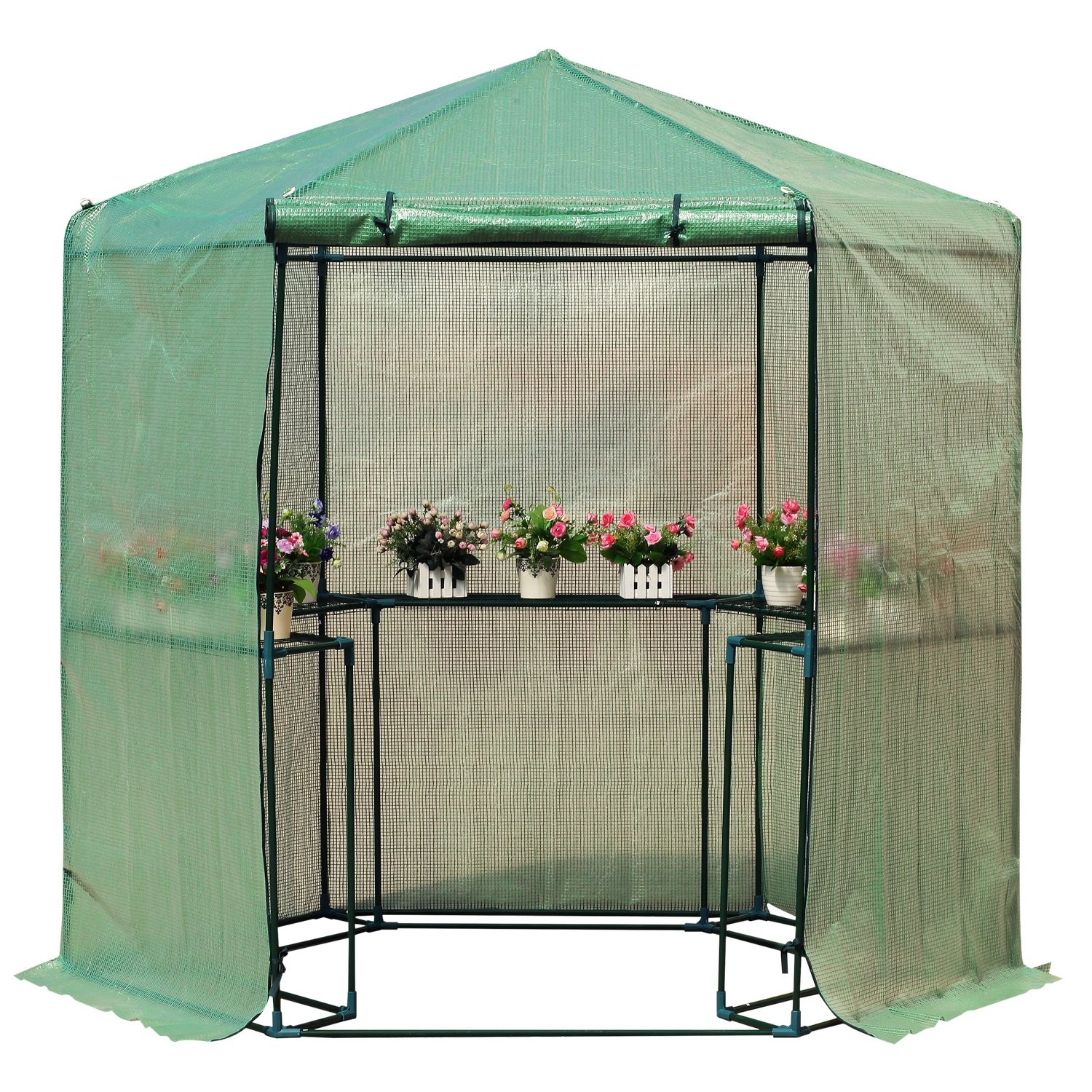Outsunny 6.5' x 7' 2 Tier Outdoor Portable Walk-In Hexagonal Greenhouse Kit