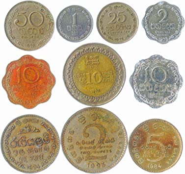 10 Sri Lanka Monedas DE LA Isla DE Asia del Sur. CEILÁN, Sri Lanka Antigua Monedas COLECCIONABLES Lote RUPIAS DE LOS CENTAVOS. Ideal para Banco DE Moneda, SOSTENEDORES DE Moneda Y Album
