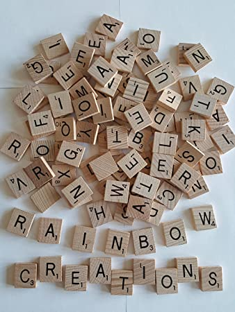 100 x quality wooden scrabble tiles craft jewellery making complete