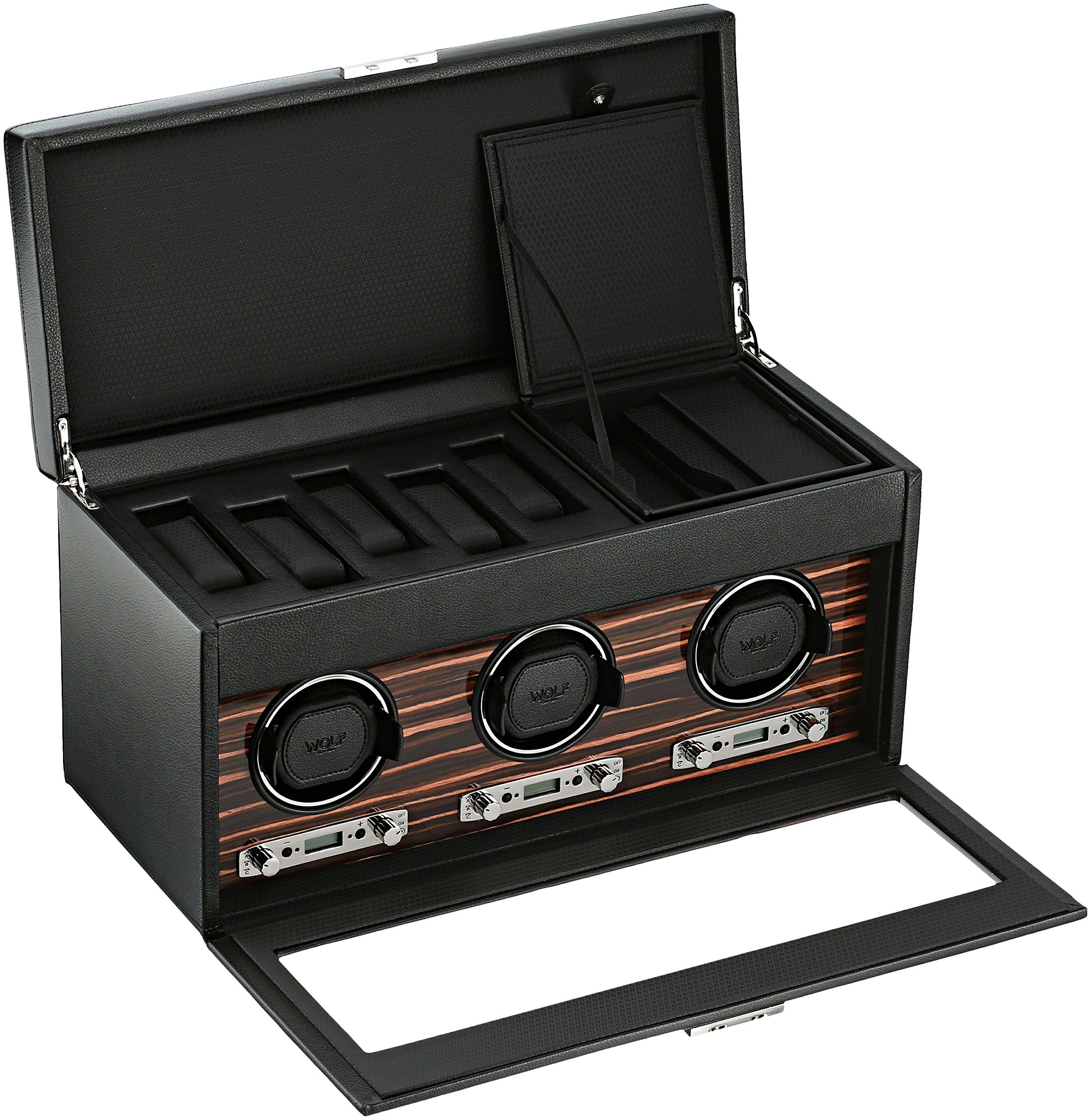 WOLF 457356 Roadster Triple Watch Winder with Cover and Storage, Black by WOLF (Image #2)