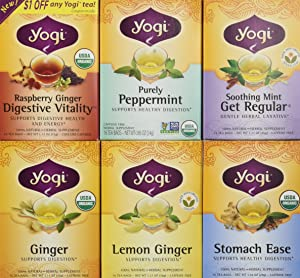 Yogi Tea Digestive Support Tea 6 Flavor Variety Pack (Pack of 6)