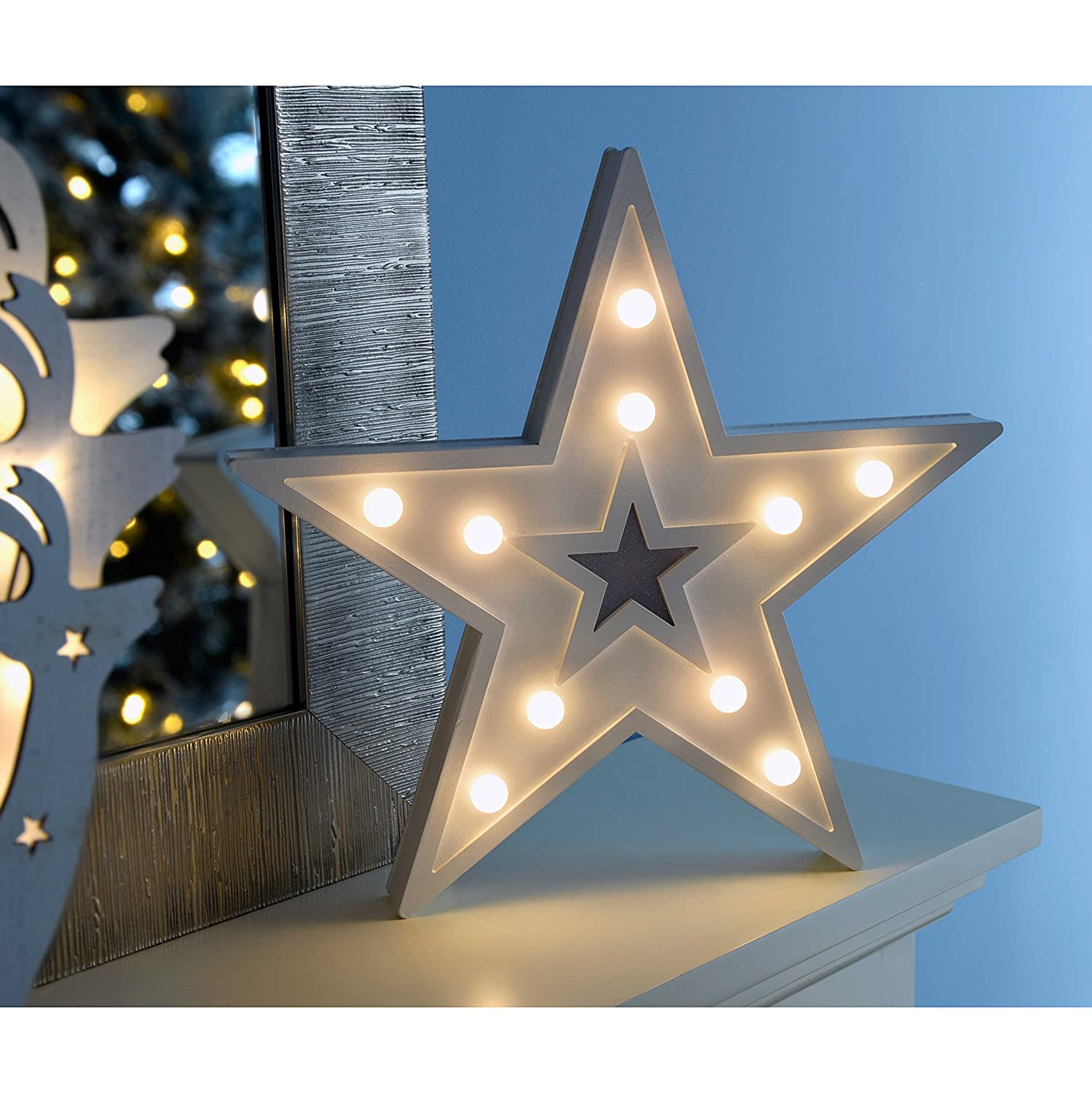 WeRChristmas Pre Lit Star Light Table Christmas Decoration with 10