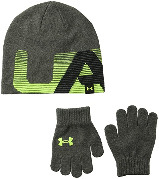 45a0ab6460e1c Amazon.com  Under Armour Boys  Knit Beanie and Glove Combo  Clothing